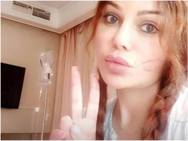 شاهدوا هيفاء وهبي تحتفل بشفائها بالقبلات من داخل غرفتها بالمستشفى