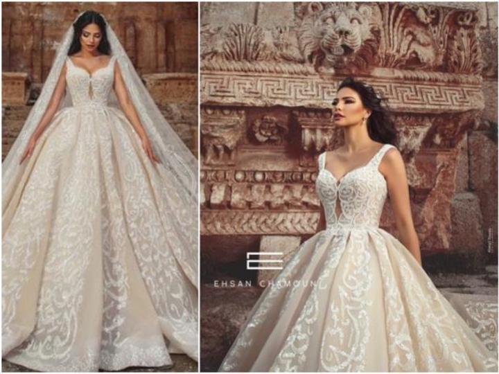 صور فستان زفاف مطرز بقصيدة كاملة لنزار قباني.. اكتشفي من صممه!