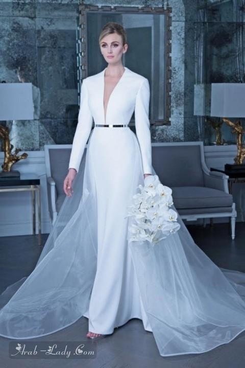 تشكيلة جديدة من موديلات فساتين زفاف بكم طويل 2019