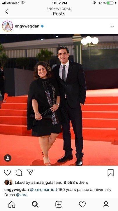 بـ فستان أسود وحذاء مختلف.. إنجي وجدان تتألق برفقة زوجها في احتفالية الماريوت