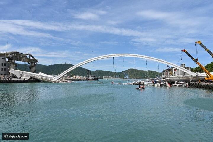 فيديو: انهيار مروع لجسر معلق في تايوان