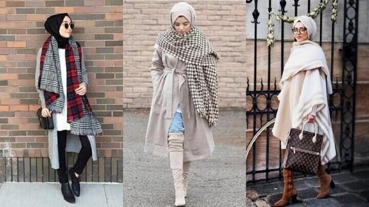 تنسيق السكارف مع ملابس المحجبات في الشتاء