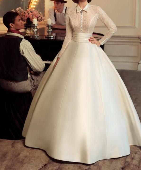 2833dc675 شاهدي الصورموضة فساتين الزفاف بتصاميم فرنسية تعود بقوة ومن جديد