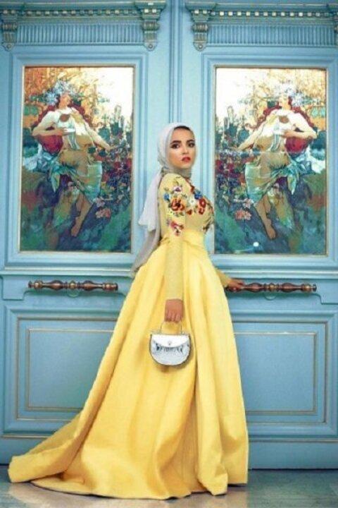 فساتين خطوبة للمحجبات مستوحاة من مدونات الموضة 2019
