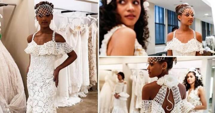 فساتين استثنائية في المسابقة السنويّة لأفضل فستان زفاف مصنوع من أوراق الحمّام