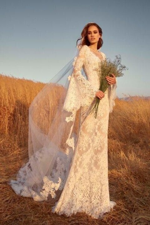 فساتين زفاف كم طويل 2020