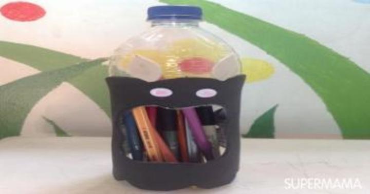 مشغولات يدوية: مقلمة مبتكرة من زجاجة بلاستيكية