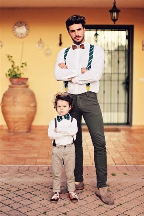 بالصور... اطلالات متناسقة بين الأب وابنه!